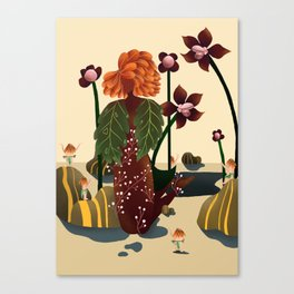 Flower lady and her servants Canvas Print