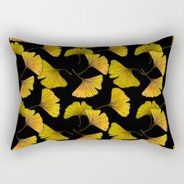 Ginkgo Leaf (Fall) - Black Rectangular Pillow