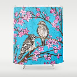 Spring Sparrows and Cherry Blossoms Shower Curtain