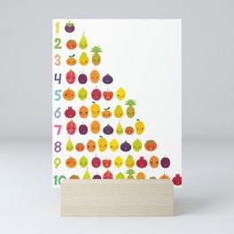 numbers for preschool kindergarten kids kawaii fruit from one to ten Mini Art Print