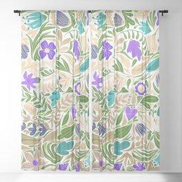 Colorful Gold Floral Leaf Illustration Pattern Sheer Curtain