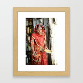 Woman with Spices, Udaipur, India Framed Art Print
