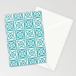 Mid Century Modern Atomic Check 140 Turquoise Stationery Cards