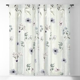 Winter Watercolor Flowers and Leaves Blackout Curtain