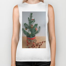 Little ChristmasTree With Antique Ornaments Biker Tank