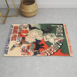 Hippodrome De La Porte Maillot Paris Courses 1900 By Jules Cheret | Reproduction Art Nouveau Rug