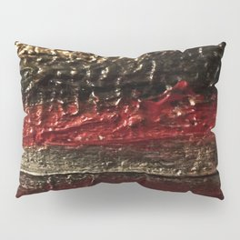 Bold Striped Black Red and Gold Textured Painting Pillow Sham