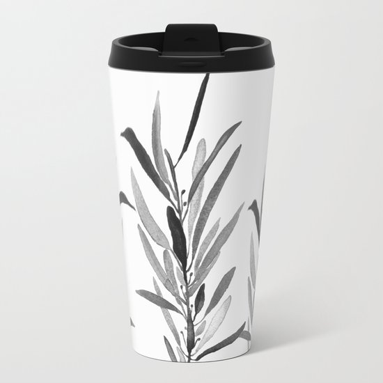 Eucalyptus Branches Black And White Metal Travel Mug
