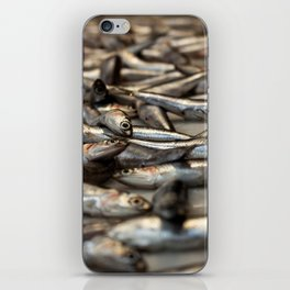 small silvery fish put on display to be sold. Fishes in the foreground and in the background unfocus iPhone Skin