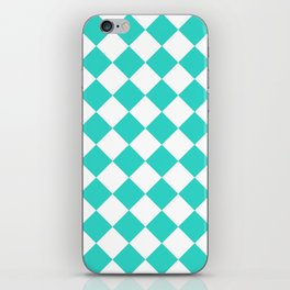 Large Diamonds - White and Turquoise iPhone Skin