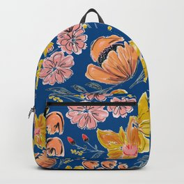 Hand Drawn Flowers on Faded Blue Backpack
