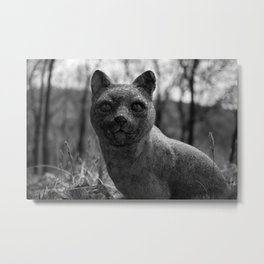 Stone Cold, Lichen Coat, Bed of leafs, this Cool Cat has no cares, or fleas. Metal Print