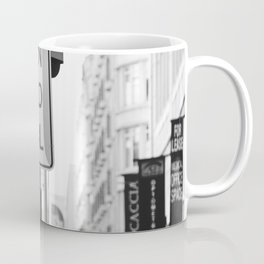 Traffic signs streets photography black and white Coffee Mug