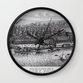 1849 Rocky Point Amusement Park Lithograph - Warwick, Rhode Island Wall Clock