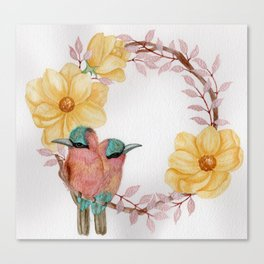 """Love Birds"" floral watercolor wreath Canvas Print"