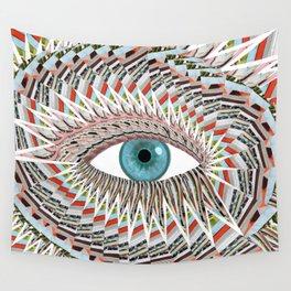 Origami Chakra Eye - Aqua Marine Blue Wall Tapestry