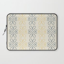 Embroidered flowers yellow and grey pattern Laptop Sleeve