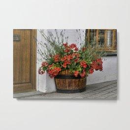 Flowers in a Basket Metal Print