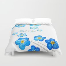 blue forget me not watercolor 2017 Duvet Cover