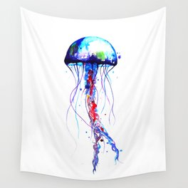 Jellyfish blue Wall Tapestry