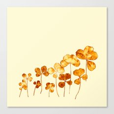 golden clover on cream- pink Canvas Print