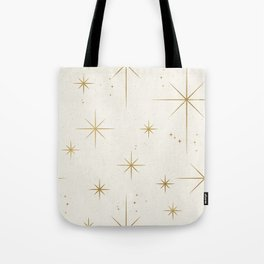 Seamless Pattern Glamorous White Gold Art Deco Stars Constellations Minimalist Geometric Pattern Tote Bag