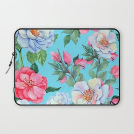 Pink and Blue Floral Print On Aqua Background Laptop Sleeve