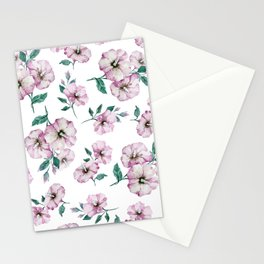 PINK FLOWERS WATERCOLOR Stationery Cards