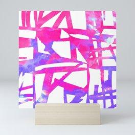 Geometrical abstract pink lavender violet watercolor pattern Mini Art Print