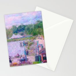 Burlington Lake Champlain Waterfront, Vermont USA Impressionist Painting Stationery Cards