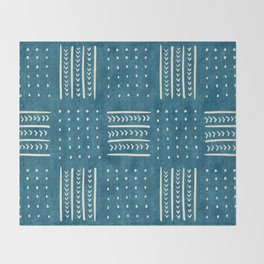 Mud Cloth Patchwork in Teal Throw Blanket