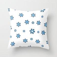 Snowflakes (Blue & Black on White) Throw Pillow