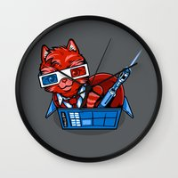 mew Wall Clocks featuring Doctor Mew by harebrained
