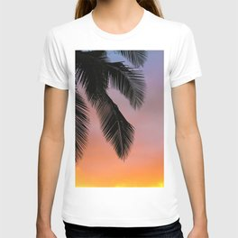 Sunset Silhouette Palm Tree (Color) T-shirt