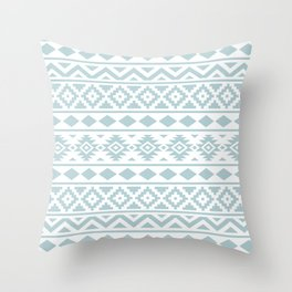 Aztec Essence Ptn III Duck Egg Blue on White Throw Pillow