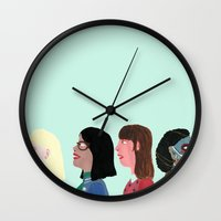 women Wall Clocks featuring women by Alejandra Hernandez