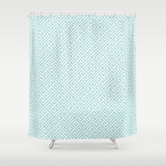 Tiffany Blue Greek Key Pattern Shower Curtain