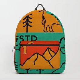 Yellowstone National Park Retro Wyoming USA Bison Buffalo Backpack