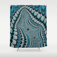 headdress Shower Curtains featuring Native American Headdress (fractal art) by    Amy Anderson