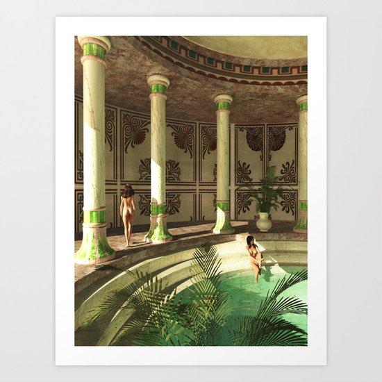 Greek bath beauties Art Print