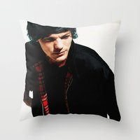 louis tomlinson Throw Pillows featuring Louis Tomlinson by Becca / But-Like-How