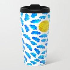 Cute blue cartoon clouds and sun. Metal Travel Mug