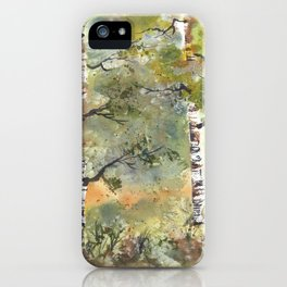 Spring Birch Forest, an original watercolor painting iPhone Case