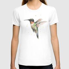 Hummingbird Watercolor Bird Animal Ruby Throated T-shirt
