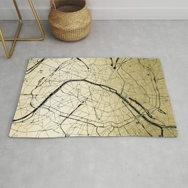 Paris France Minimal Street Map - Gold on Black Rug