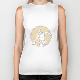 Track and Field Discus Thrower Circle Mono Line Biker Tank
