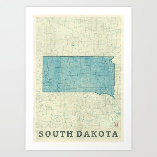 South Dakota State Map Blue Vintage Art Print