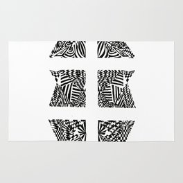Double Dagger, Black/White Abstract (ink drawing) Rug