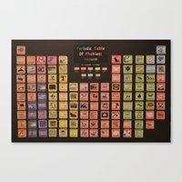 periodic table Canvas Prints featuring Periodic Table of Phobias by Darkest Devotion