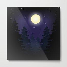 Forest On Moonlit Night #society6 #decor #buyart #artprint Metal Print